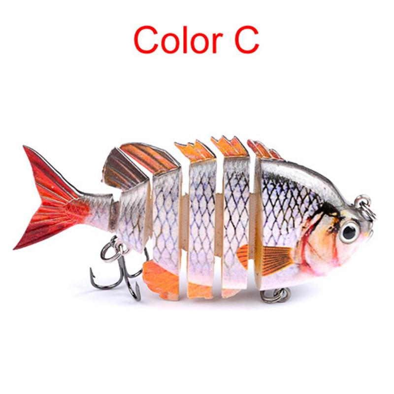 8cm 14g Fishing Wobblers 6 Segments Swimbait Crankbait Bright Colors Fishing Lure Laser Bait with Artificial Hooks