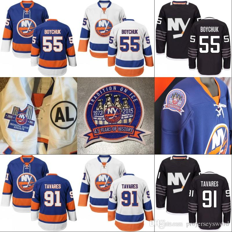 hot sale online 44445 edffe #13 Mathew Barzal Jersey with the 43 Years of Tradition Stanley Cup and AL  Patch New York Islanders 7 Eberle 27 Anders Lee Jerseys