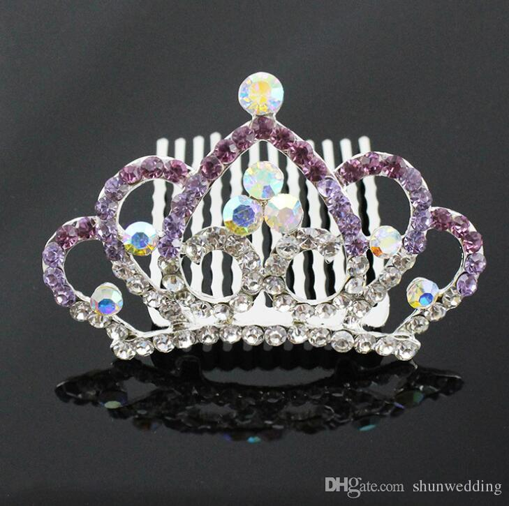 Sparkling Colorful Crystal Girl Hair Crown Combs Jewelry Rhinestone Children Mini Tiara Crown Headdress for Wedding Christmas party