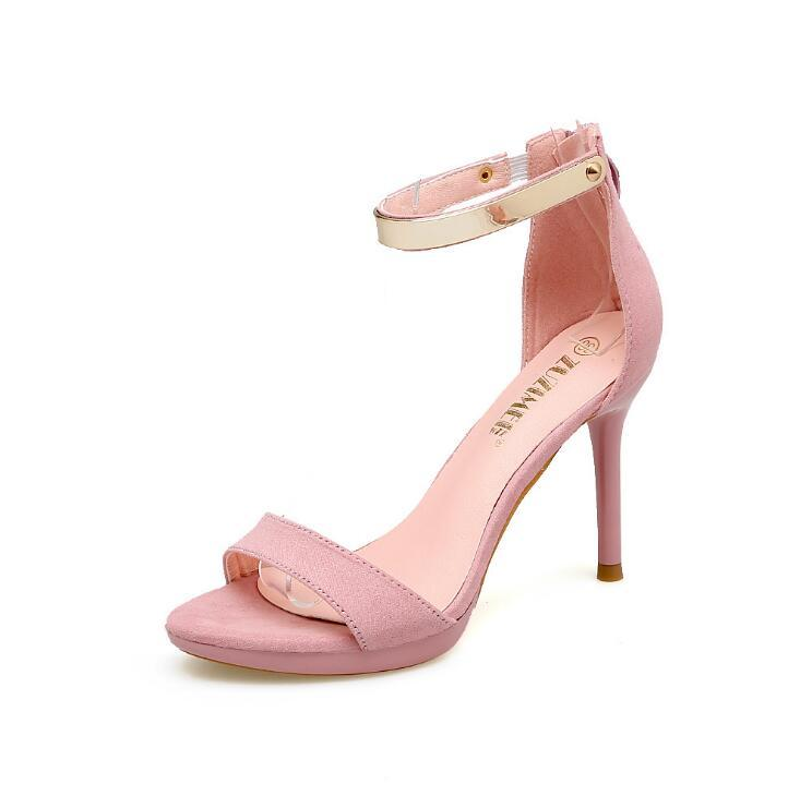 af47e66b1d55c5 2017 Concise Suede High Heels Sandals Women Sequined Ankle Strap ...