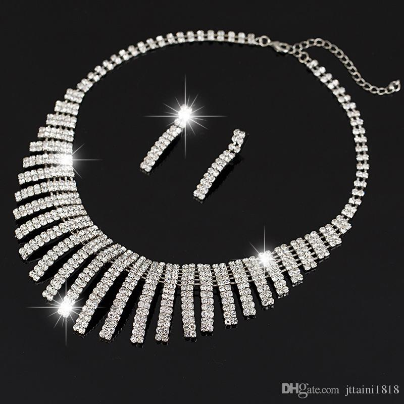 Venta caliente astilla cristal rhinestone plateado collar + pendientes de dos piezas conjunto de joyas para la novia nupcial accesorios de la boda
