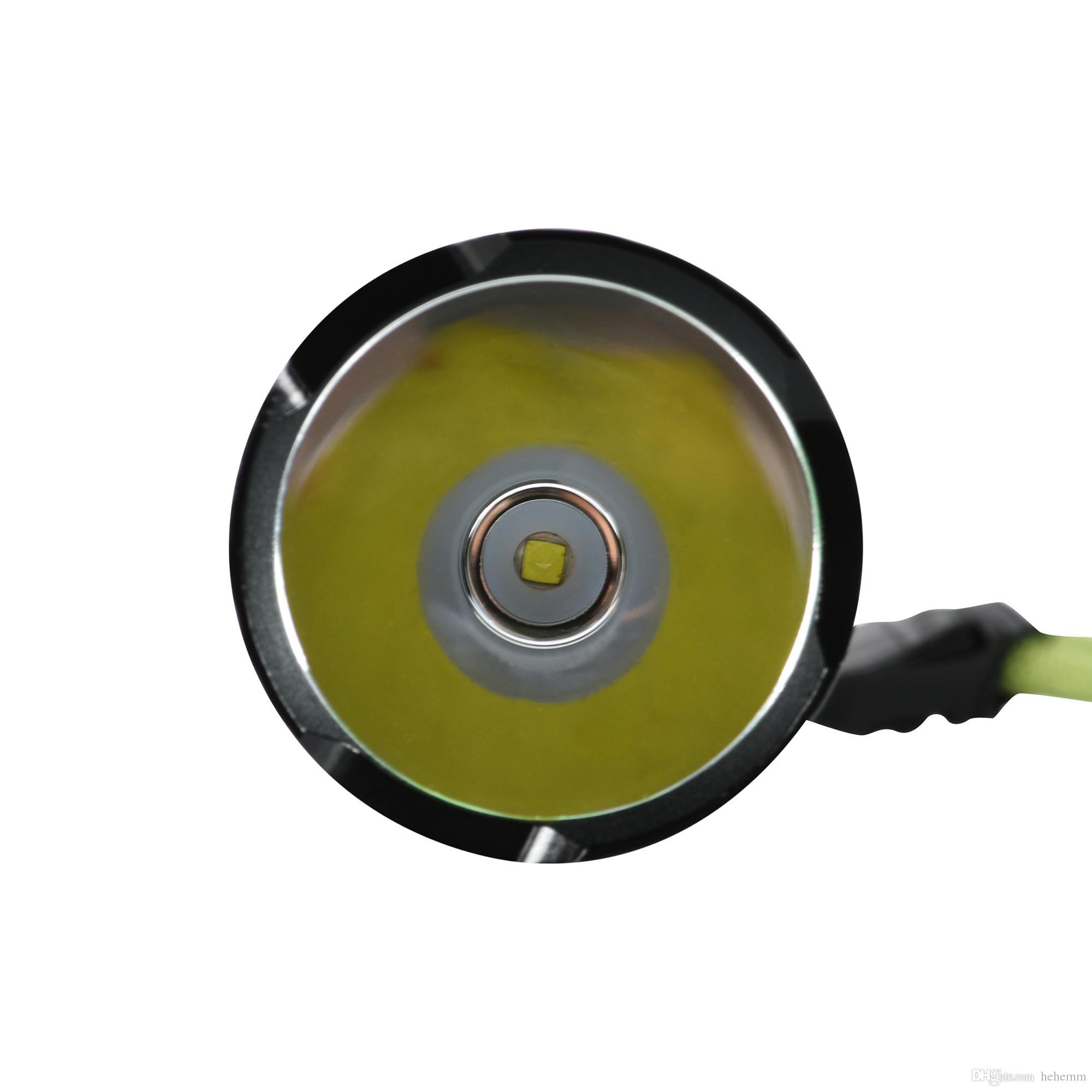 Lampe torche à DEL de 2 000 lumens ultra-brillante avec interrupteur pour bouton arrière contrôlée par 5 modes, noir sans pile