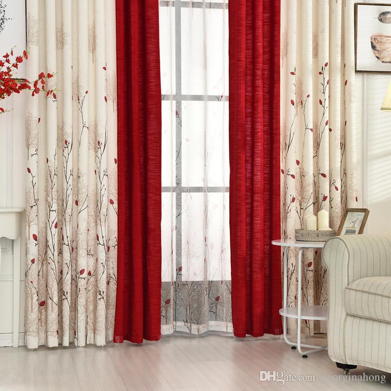 compre cortina de lino de algodn moderno rstico rojo de alta calidad de costura sala cortinas telas cortinas de la puerta de la cocina cortinas a 1408 - Cortinas Lino
