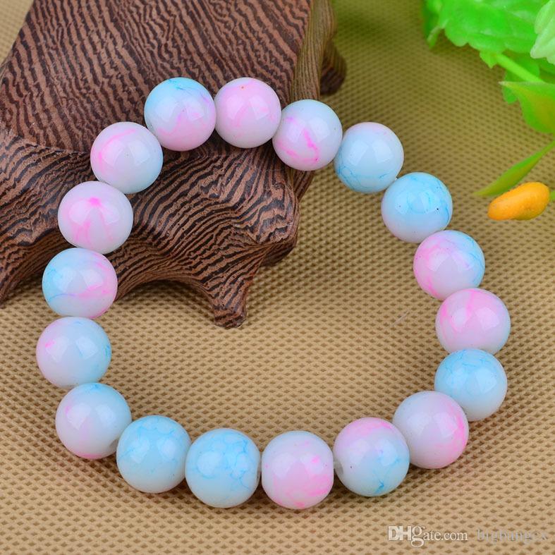 10mm 12mm Regenbogen Perlen Armband pulseras mujer Achat Glasperlen Armband elastische Bettelarmband natürliche Kristall Kette für Männer und Frauen