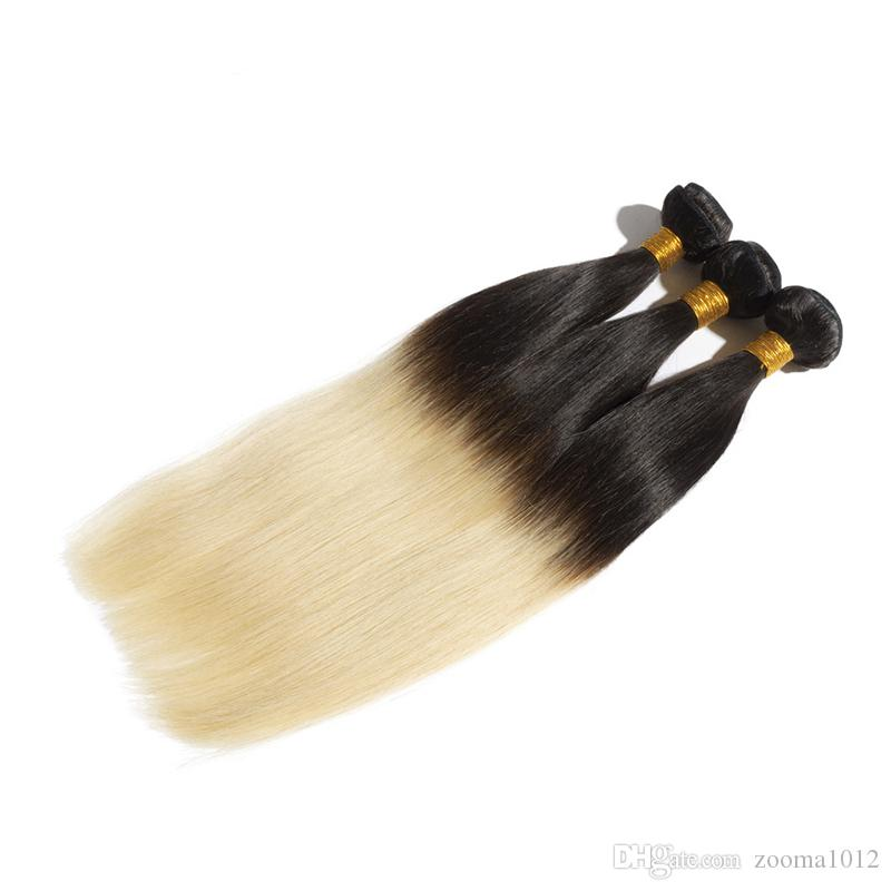 3 sztuk / partia Brazylijski Ombre Włosy Wątek Dwa Tone Color 1B / 613 1B / Szary Blondynka Peruwiański Proste Ludzkie Włosy Uwagi Sfot Tanie Wiązki Włosów