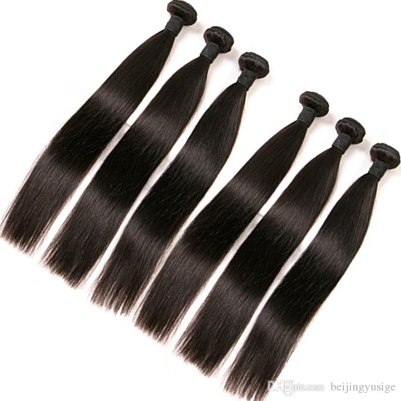 Brazilian Silk Straight Human Hair Bundles Weft Natural Black Color Brazilian Hair Dyeable Virgin Human Hair