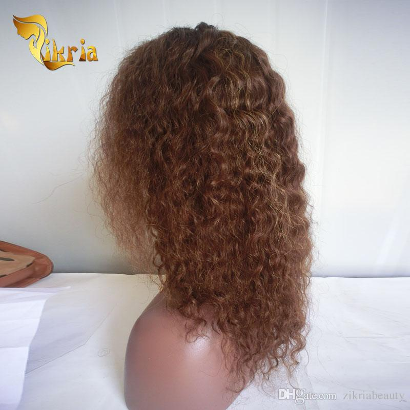 Pelucas del cordón del pelo humano de la onda profunda de Brown con los flequillo Pelucas delanteras del cordón del cordón del pelo humano de la Virgen peruana india para las mujeres negras