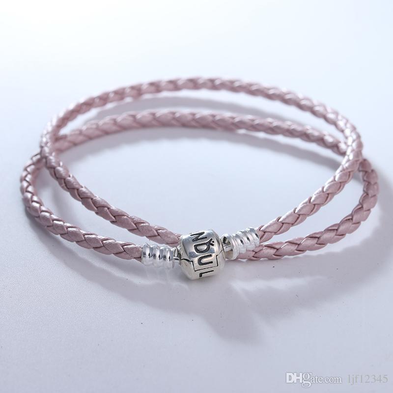 Acheter Pandulaso Perle Rose Bracelet En Cuir Rose En Cuir DIY Avec Des  Perles Lâches Convient Européen En Argent Sterling Bijoux Charms Perles De  ...