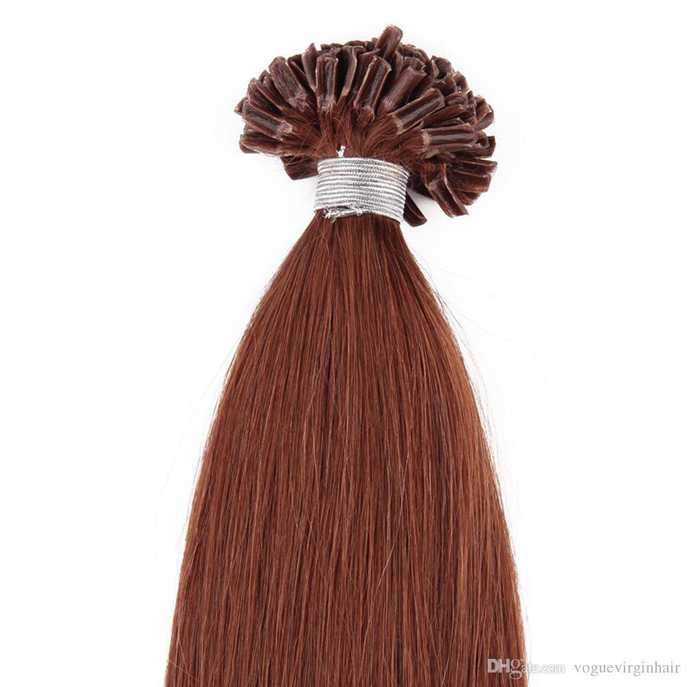 Straight Nail Top Extension U Tip Hair Extensions Human 50g U Tip