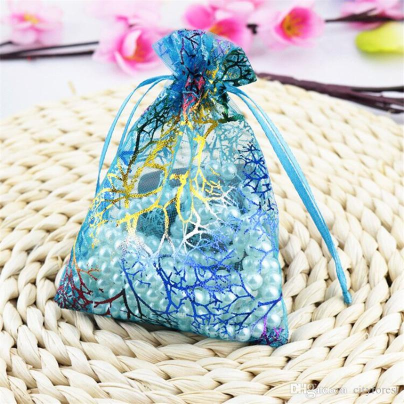 Blue Coral Organza Jewelry Pouch Bags 9X12cm  3.5 x 4.7 inch Drawstring Organza for Candy Beads Packing