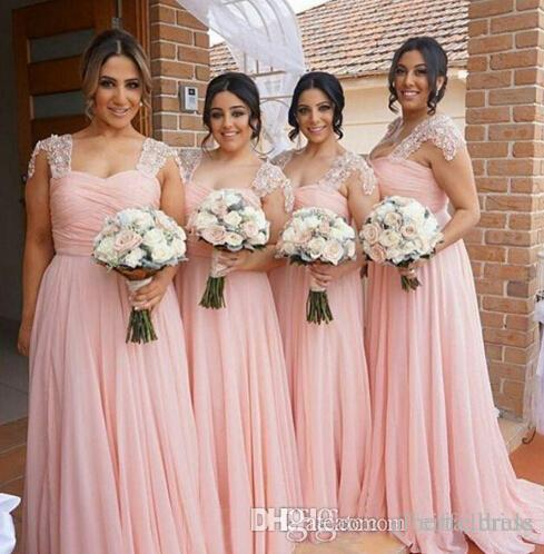 Hot Sell Lace Bridesmaid Dresses Sexy Scoop Neck Bling Beaded Cap Sleeve Blush Pink Plus Size A Line Backless Chiffon Bridesmaid Dress