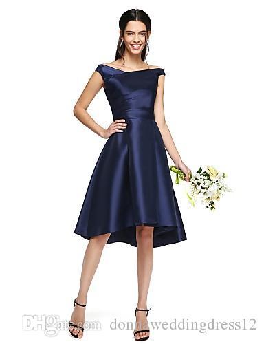 халат де soriee 2017 асимметричный Тафта невесты Платья дешевые темно-синий Off-плечо с боковой драпировки свадебные платья
