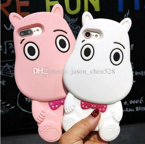 3D Hippo silicone case for Iphone6 from creative 6s newest cell phone case of 6 plus soft drop the whole case Hippo moomin