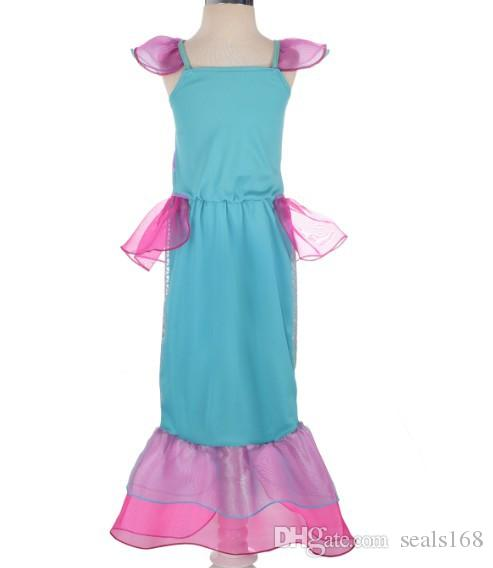 Children Kids Girls Princess Mermaid Dress Ariel Generic Dress Party Costume Cosplay Halloween Clothing HH7-190