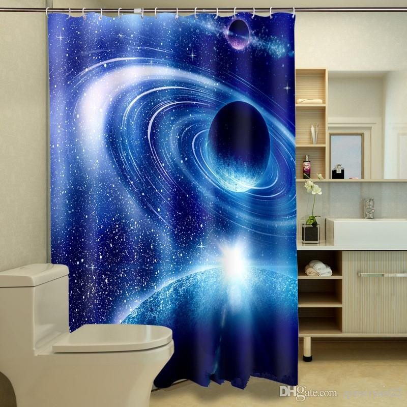 2019 Waterproof Washable Bath Curtains Personalized 3D Space Planet Shower Curtain For Bathroom Custom With Hooks Accept Your Photo From Qimeiyao22