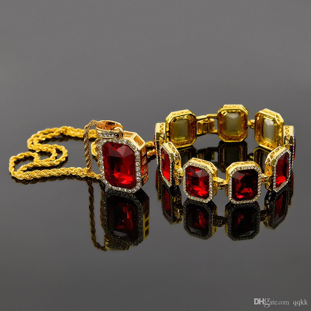 Fashion mens jewelry sets gold plated chain necklace ruby diamond fashion mens jewelry sets gold plated chain necklace ruby diamond pendant brand designer aaa rhinestone bracelets men hip hop jewellery online with aloadofball Image collections