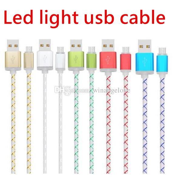 Universel Led lumière Flash 1m 3ft alliage métallique micro 5pin usb données câble de charge pour samsung s6 s7 bord note 2 4 htc téléphone Android 6 7 8