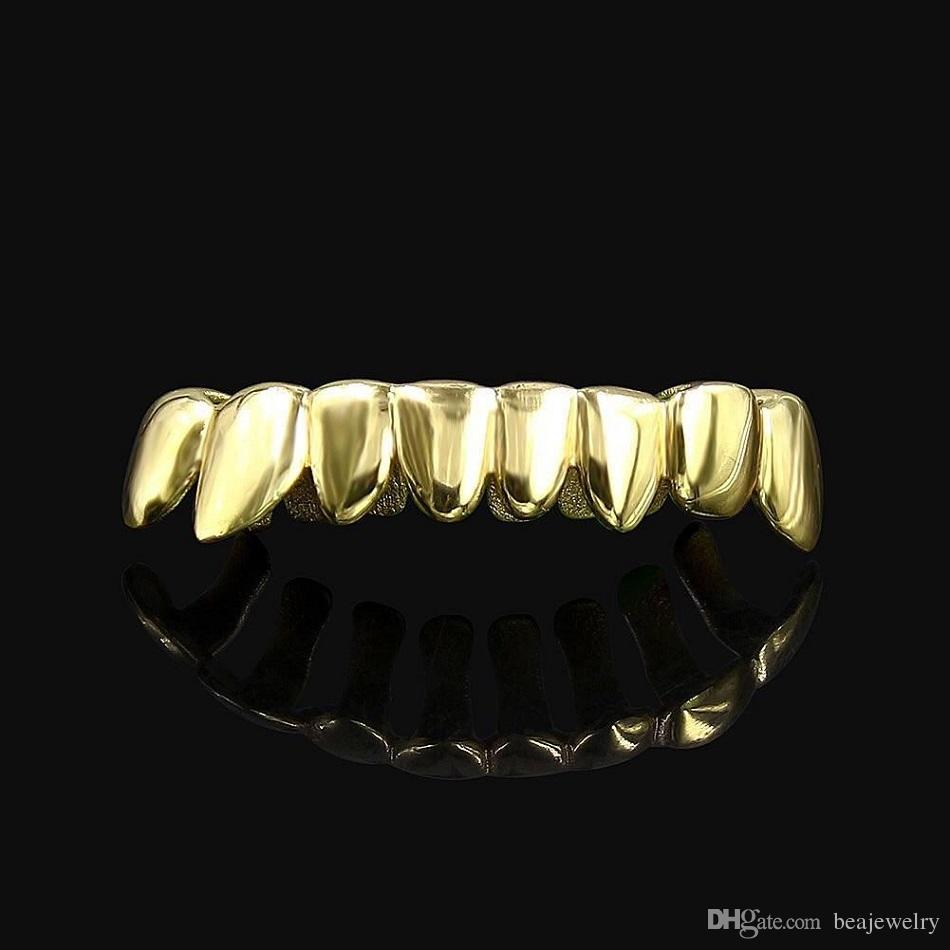 Hiphop Gold Silver Rosegold Grillz Caps Shaped Teeth Grills Lower Bottom Cut Real Teeth GRILLZ With Silicone