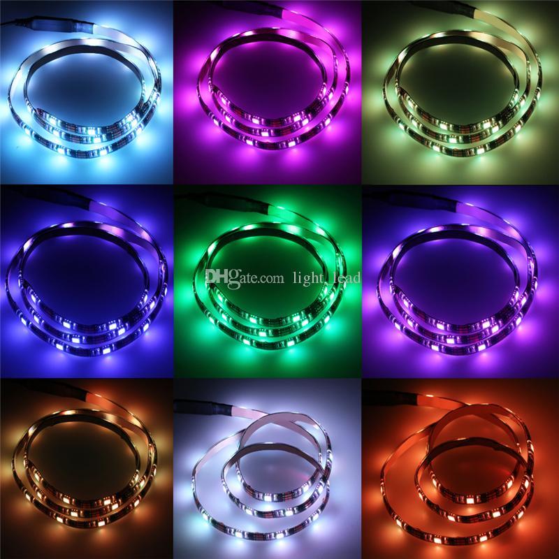USB DC5V 90 см светодиодные полосы света лампы 5050 RGB полоса гибкие огни Рождество стол декор ТВ фоновое освещение