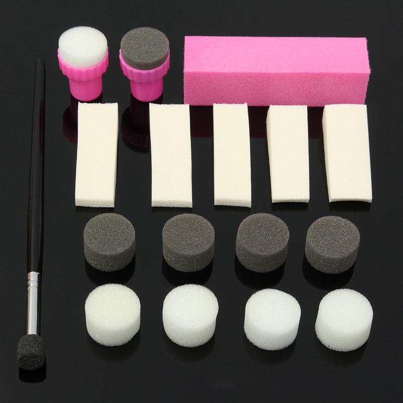 New Nail Art Sponge Stamp Stamping Stamper Polish Gradient Painting Transfer Template Pen Brush Decoration Manicure Set Kit 2017