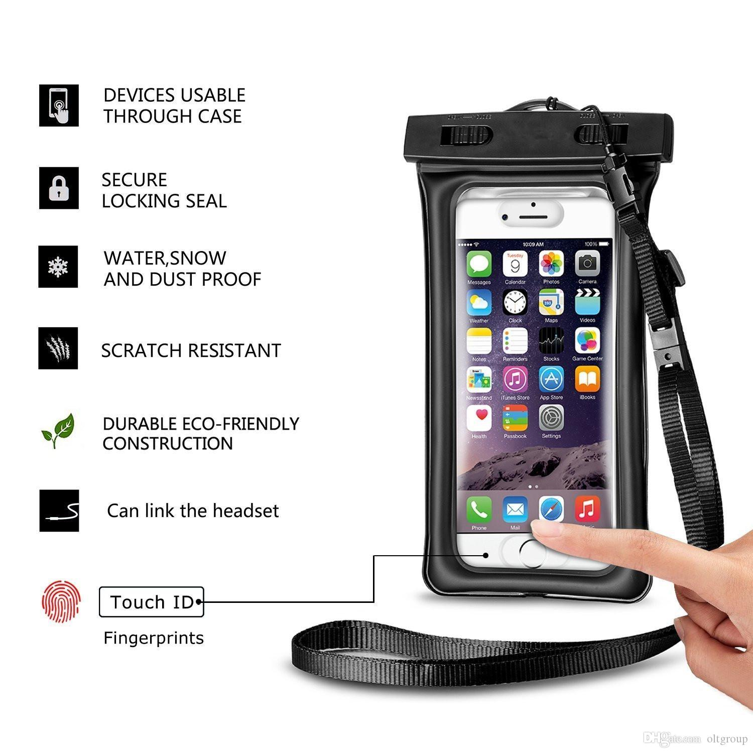 Waterproof Cellphone Pouch for iPhone 6/7,OLEEDA Floatable Waterproof Phone Case with Armband Lanyard Audio for iPhone 6/6s plus