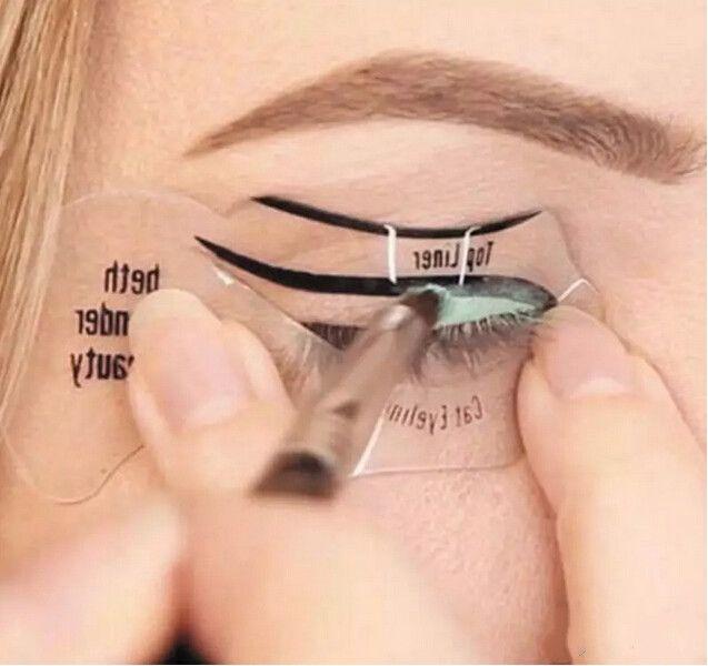 New 2 Styles Beauty Cat Eyeliner Models Smokey Eye Stencil Template Shaper Eyeliner Makeup Tool