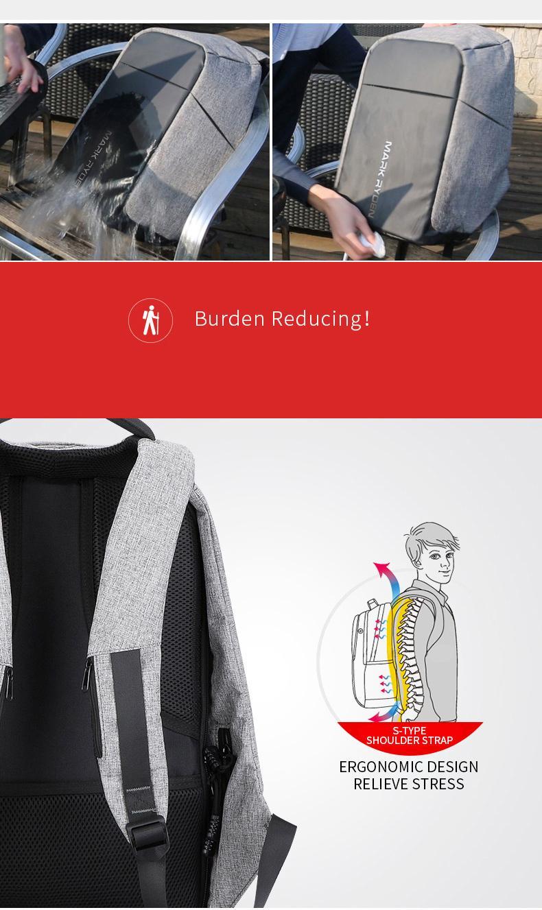 Multifunción de carga USB Hombres 15 pulgadas mochilas para portátiles para adolescentes de moda para hombre Mochila ocio mochila de viaje anti ladrón