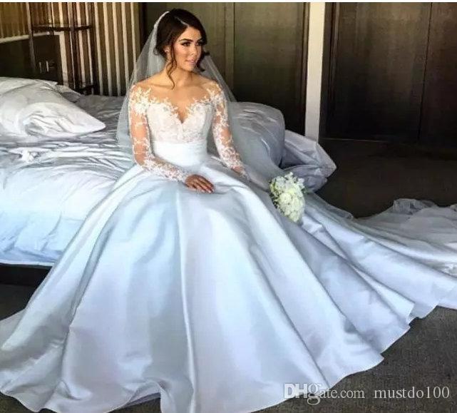 Discount 2017 New Split Lace Steven Khalil Wedding Dresses With ...