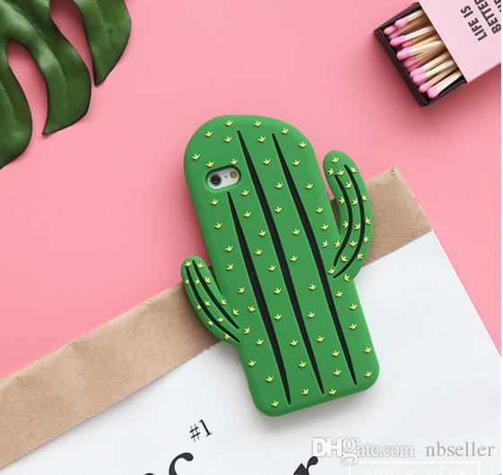 3D Cacti Cactus Funda de silicona blanda para iphone x 10 8 7 7PLUS 6 6 S Plus S7 edge S8 NOTE8 Moda goma gel linda cubierta del teléfono