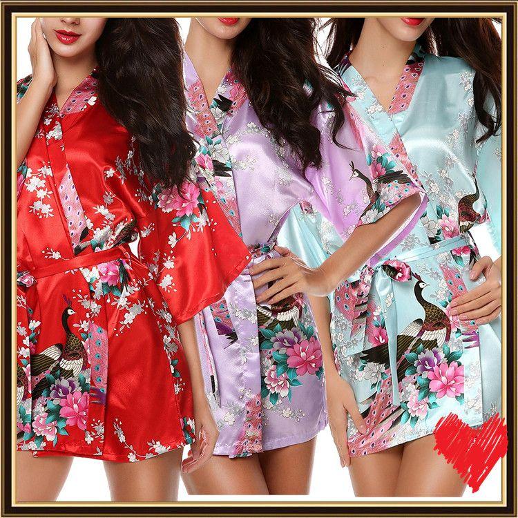 4afb178c3f Ladies Summer Solid Royan Silk Robe Satin Pajama Women Lingerie Sleepwear  Bath Gown Sleepwear Multi Colors.A0278 From Tina314