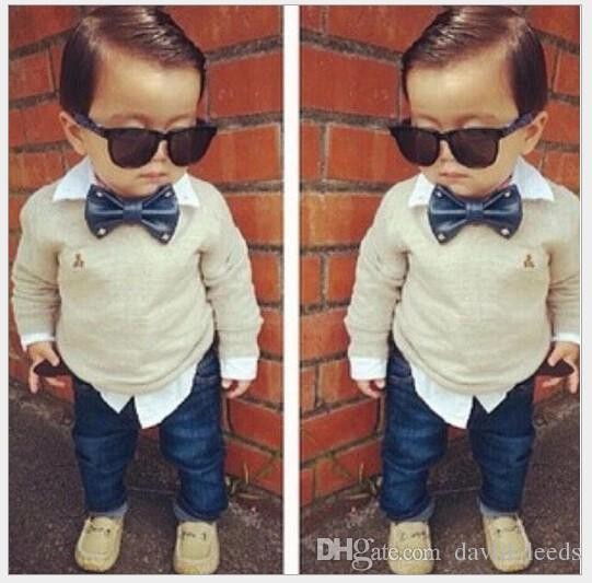 2017 Spring Autumn Boys Clothing Sets Gentleman Style False Two Piece Boy Long Sleeve Shirt With Bowtie+Denim Pants Set Kids Outfits