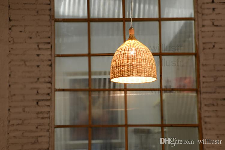 Willlustr bamboo pendant lamp dinning living room suspension light handmade wicker basket hotel hall restaurant loft kitchen hang lighting