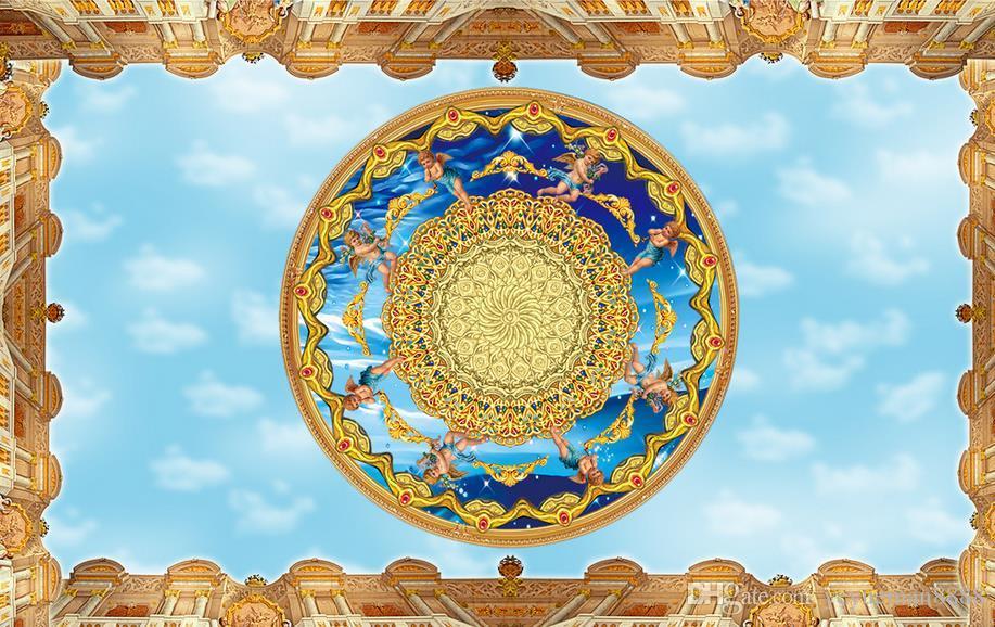 3d 천장 벽화 벽지 사용자 정의 사진 벽화 3d 천장 천사 푸른 하늘 벽지 벽지 3d 천장