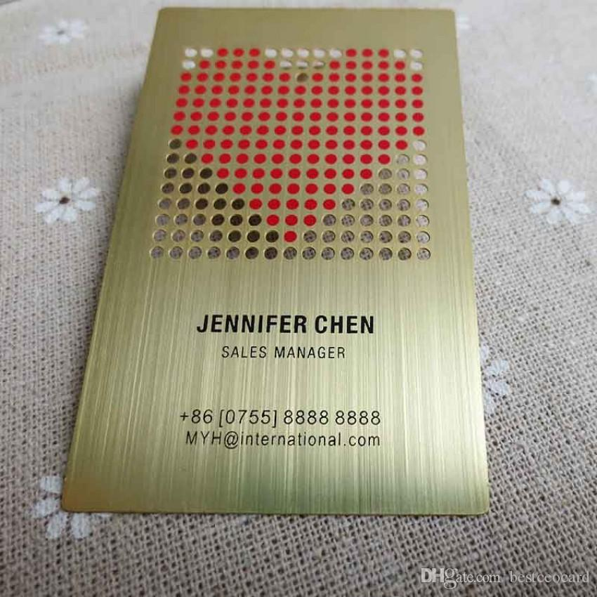 2018 business card factory brushed gold metal card design with 2018 business card factory brushed gold metal card design with cutout and red color printed by airmail from bestceocard 16371 dhgate reheart Gallery