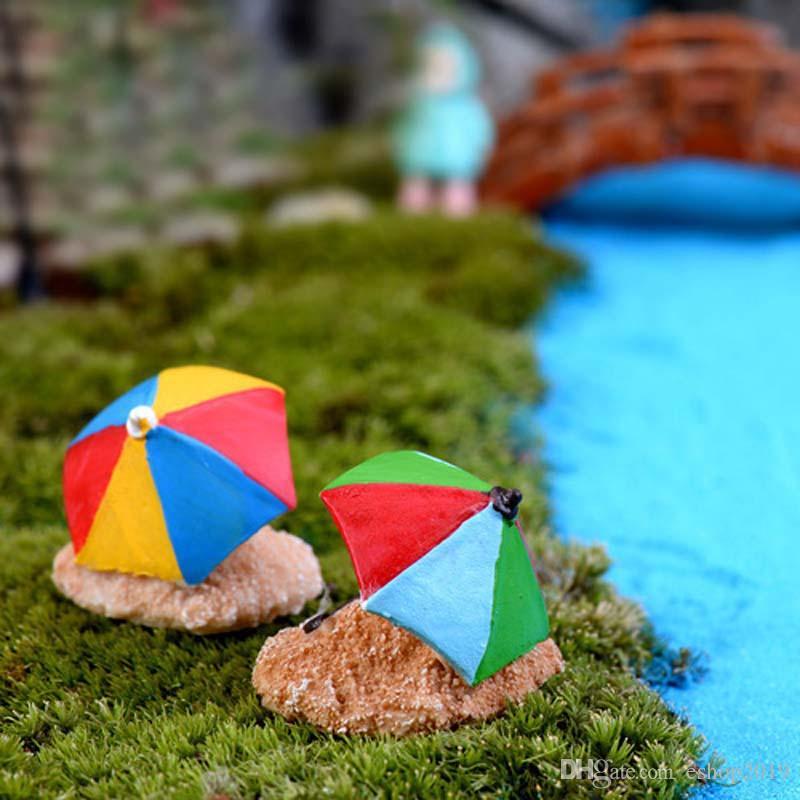 4 unids Artificial sombrilla de playa mini hada jardín miniaturas gnomos musgo terrarios artesanías de resina figurines decoración para el hogar adornos