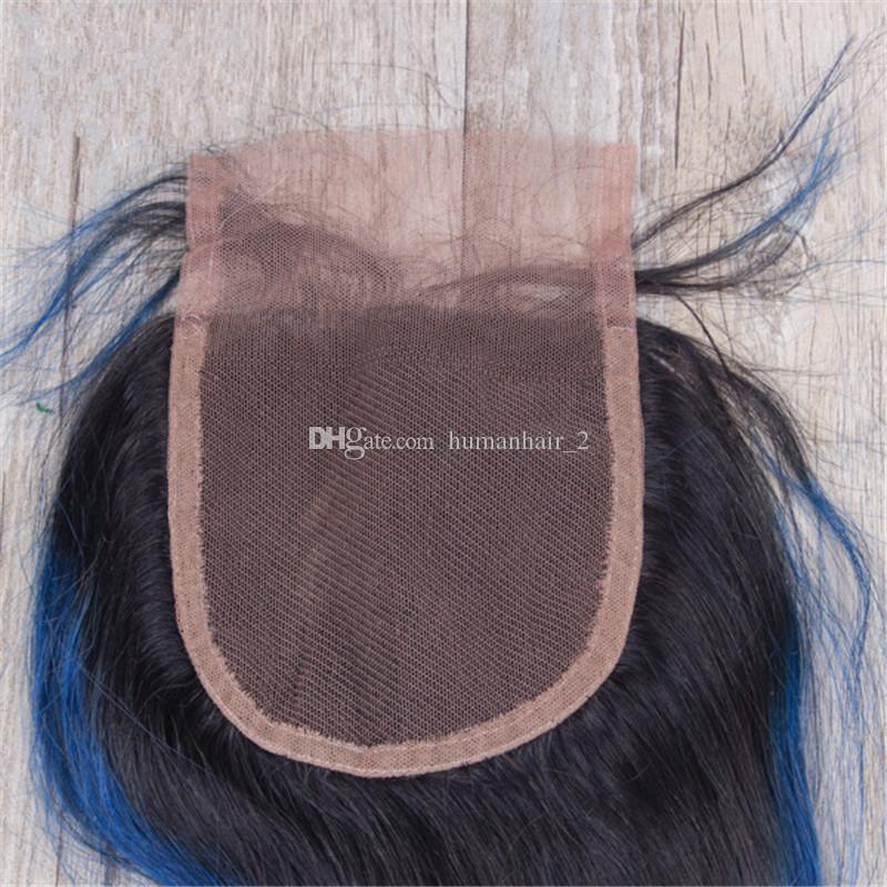 Zwei Ton schwarz bis dunkelblau Spitze Schließung mit Bundles brasilianische reine Ombre Körperwelle Menschenhaar spinnt mit 4 * 4 Spitze Top Closure