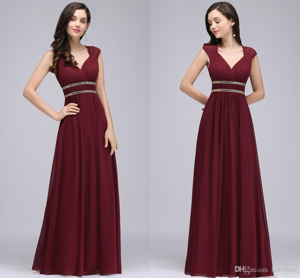 Burgundy New Designer Long Prom Dresses Cap Sleeves A Line Chiffon ...
