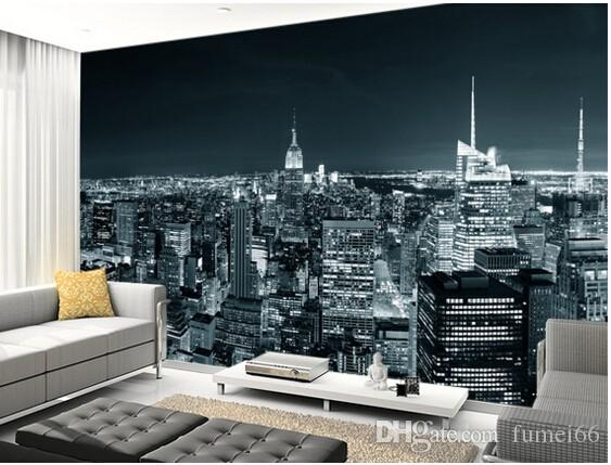 Custom Black And White Retro Wallpaper,New York Manhattan