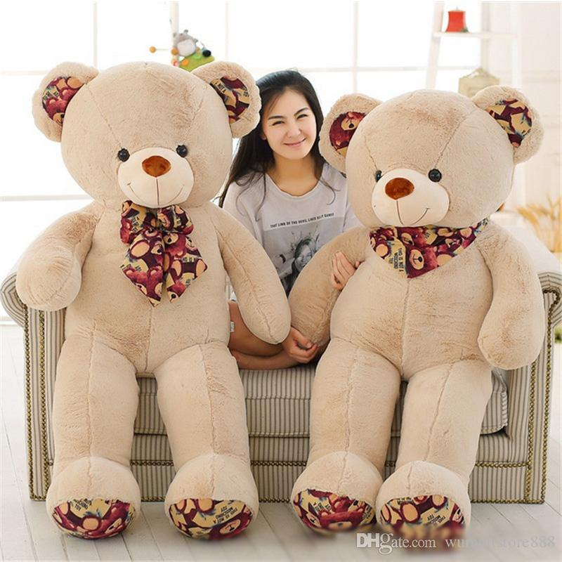 Giant Teddy Bear with Bow Soft Stuffed White Brown Plush Bears Toy 51inch Best Xmas Birthday Gifts