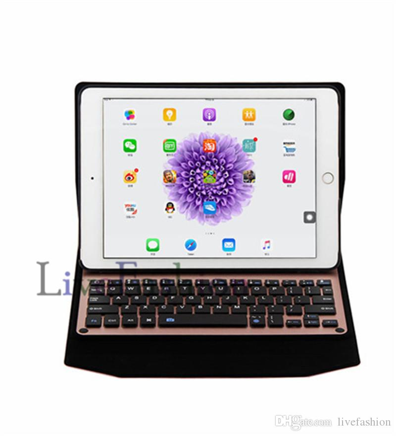 "Bluetooth 3.0 Wireless Aluminum Keyboard Leather Case Cover Holder Stand for iPad Pro 9.7"" Air 2 ipad 5 6 Protective For Tablet PC"