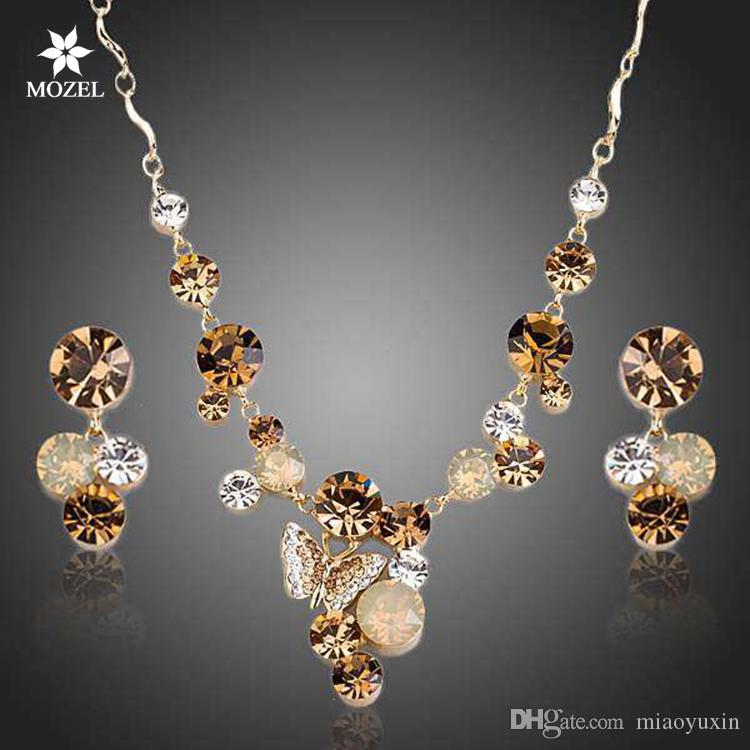 Wholesale MOZEL Swarovski Elements Gold Plated Butterfly Austrian Crystal Pendant Necklace and Drop Earrings Wedding Jewelry Sets TG0155