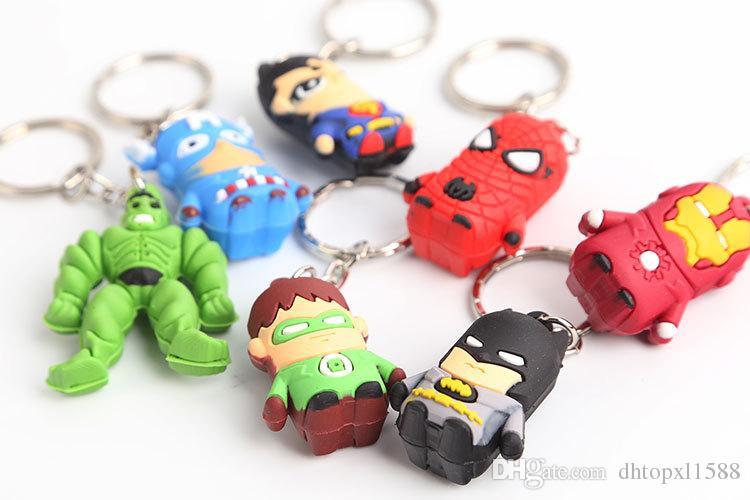 Hot Superman Batman Spider-Man cartoon anime boy Keychain sided soft toys for kids =1LOT