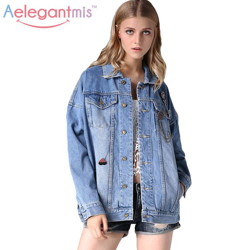 Aelegantmis Autumn Loose Oversized Denim Jacket Women 2016 Fashion ...