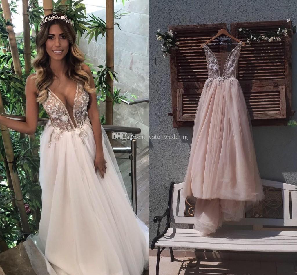 Romantic Bohemian Wedding Dresses.Romantic Boho Wedding Dresses Sheer Neck Beaded Flowers Tulle Illusion Bodice Beach Wedding Dresses Bohemian Bridal Gowns
