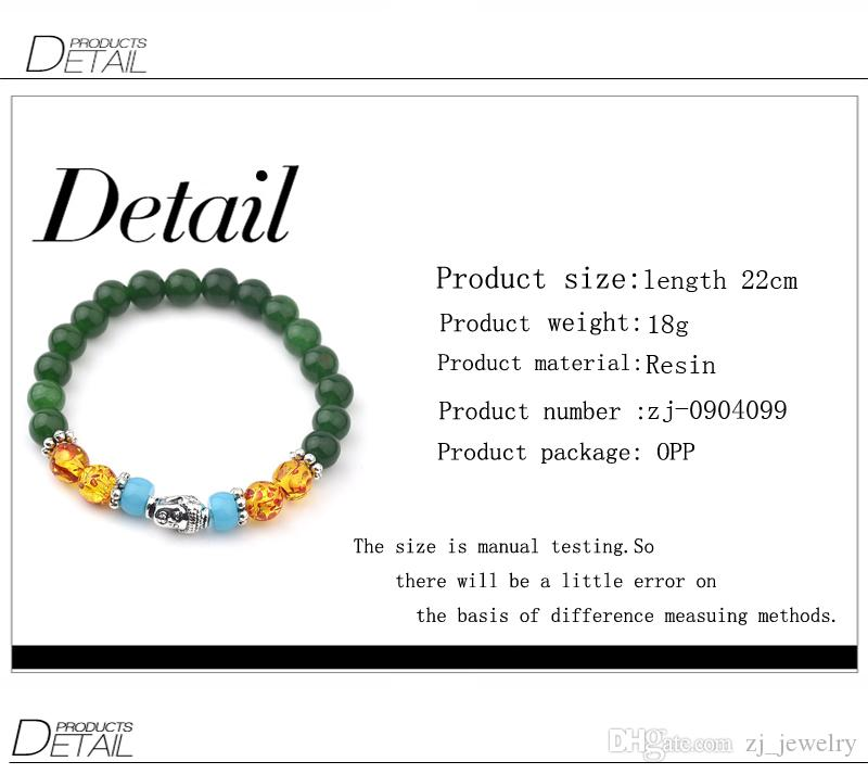 Buddha Jade Bracelets For Women Tibetan Silver Beads Bracelets & Bangles 7 Chakra Healing Balance Jewelry