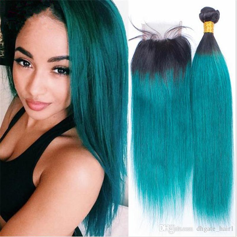Ombre 1bgreen Dark Root Virgin Brazilian Human Hair 3bundles With