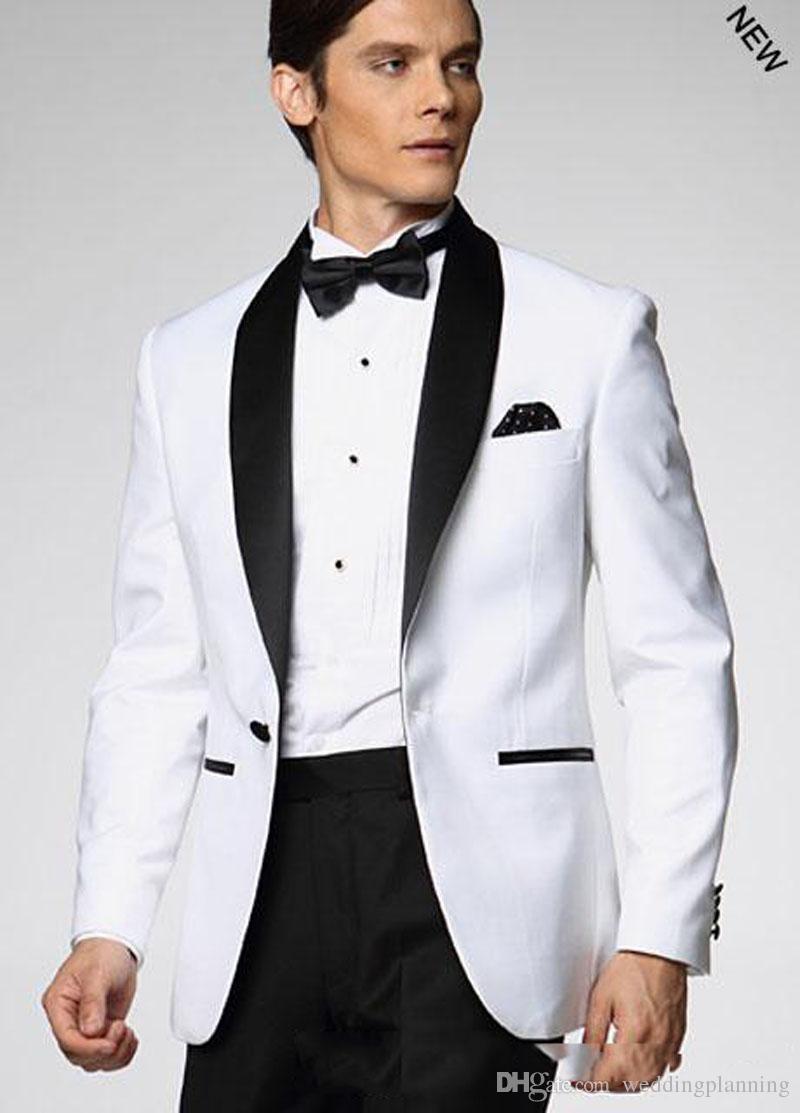 Center Vent Slim Fit Bräutigam Smoking Trauzeuge Schal Schwarz Kragen Groomsman Männer Hochzeitsanzug Bräutigam Jacke + Hose + Krawatte
