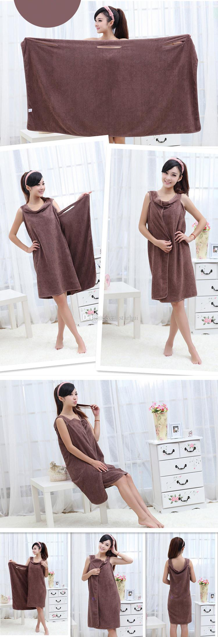 Magic Toallas de baño Lady Girls SPA Toalla de ducha Body Wrap Bata de baño Albornoz Vestido de playa Toalla mágica usable Estilo grueso WX-T16