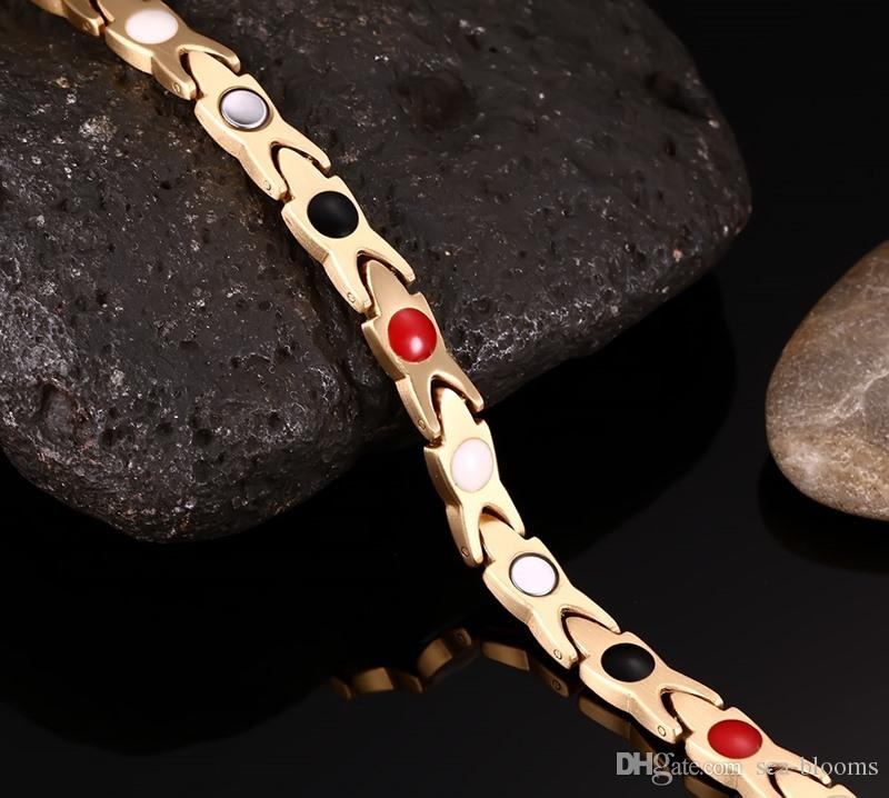 Fashion Women Gold Color Healing Energy Negative Ion Infrared Stainless Steel Germanium Magnetic Bracelet for Women Christmas Gift B813S