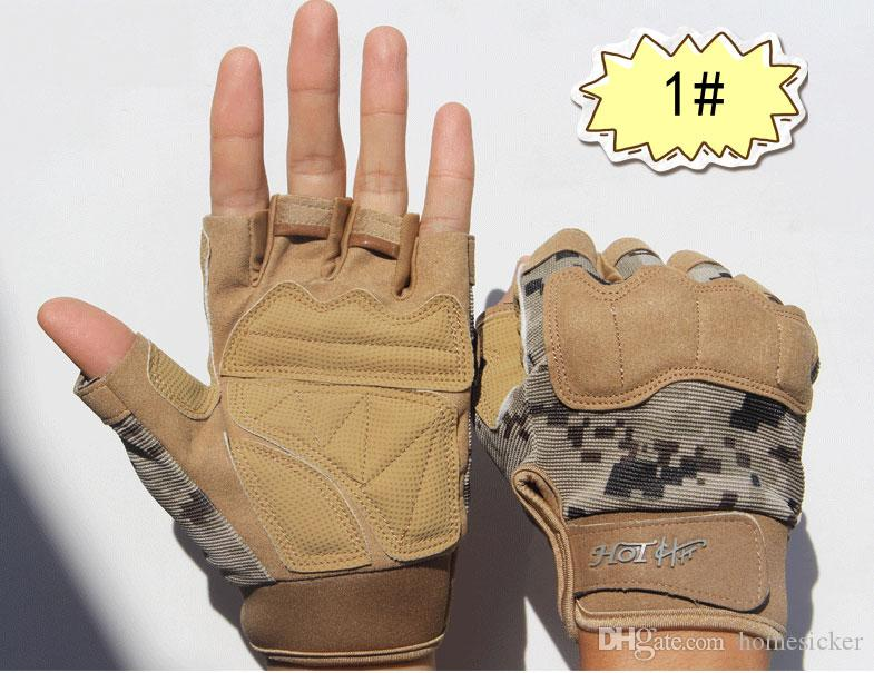 Yükseltilmiş versiyonu dijital taktik eldiven erkek / kadın spor açık kaymaz sıcak bisiklet ekipmanları eldiven parmaksız taktik muharebe